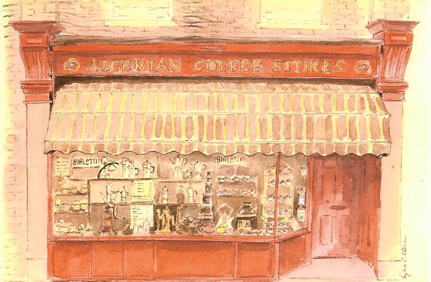 Postcard of the Algerian Coffee Stores in Soho, London, which  first opened its doors in 1887.
