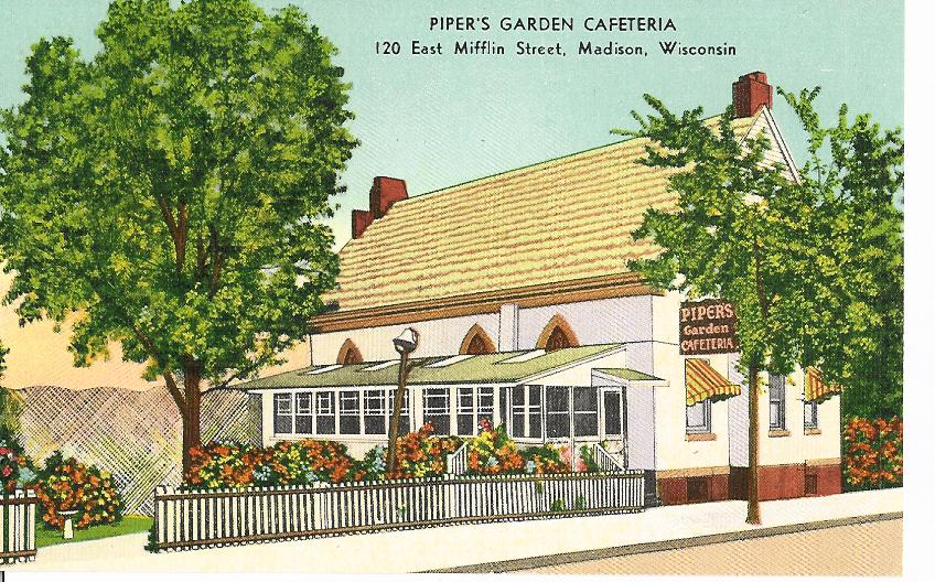 Piper's Garden Cafeteria located at 120 East Mifflin Street. Opened in 1923 by four Piper brothers, the cafeteria survived the Depression. In 1960, the circa-1853 building was razed to provide parking for shoppers