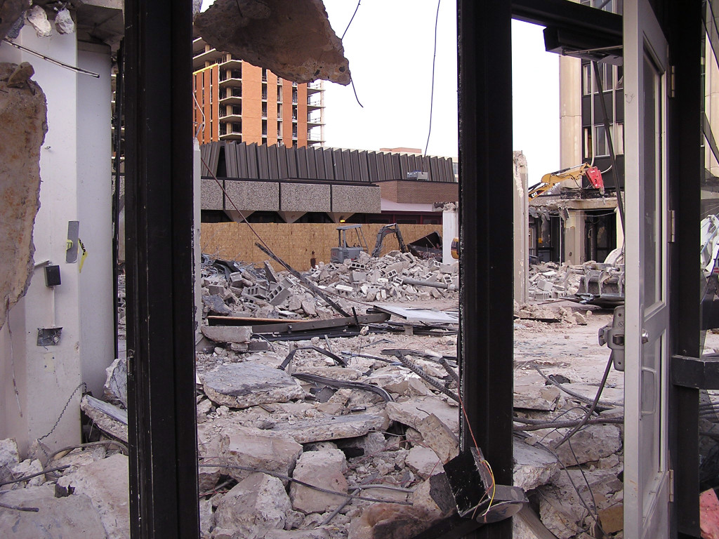 View from West Dayton Street of what was once part of the structure connecting the Ogg towers. Photo taken November 12, 2007.