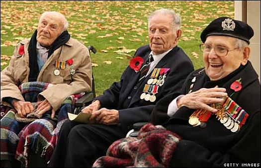 "Earlier this morning, at 11 a.m. (GMT) in London, three of the four surviving British veterans of World War I helped mark the 90th anniversary of Armistice Day, According to the BBC News, ""Henry Allingham, 112, Harry Patch, 110, and Bill Stone, 108, represented the RAF, Army and Royal Navy respectively at a ceremony at London's Cenotaph."