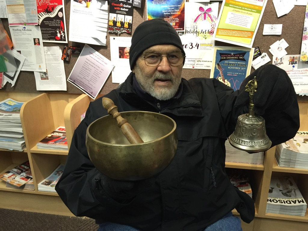 Rick, a Salvation Army  Red Kettle volunteer, with his special bells from Nepal.